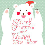 Happy Christmas Bear,greeting card — 图库照片