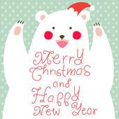 Happy Christmas Bear,greeting card — Stock Photo