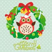Christmas card with wreath — Stock Photo