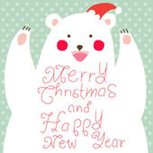 Happy Christmas Bear,greeting card — Stock Photo