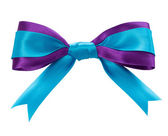 Blue ribbon bow isolated on white background — Stock Photo