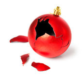Broken red christmas ball — Stock Photo