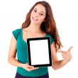 Young beautiful woman with tablet PC on white background — Stock Photo