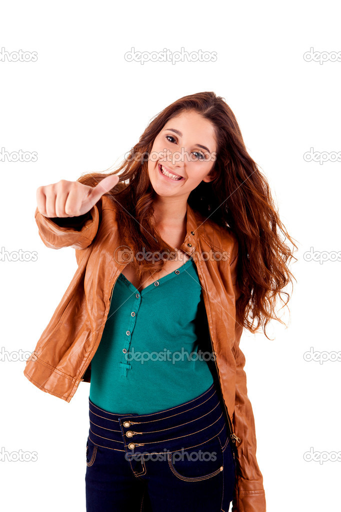 Beautiful young woman doing thumbs up on white background — Stock Photo #17696043