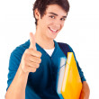 Young happy student showing thumbs up — Stock Photo