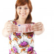 Happy woman showing Euros currency notes — Stock Photo