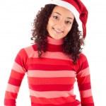 Beautiful african woman celebrating christmas wearing santa hat — Stock Photo #18576537