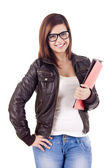 University girl holding books and smiling — Stock Photo