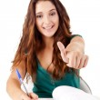 Portrait of a young happy student doing thumbs up — Stock Photo #19823877