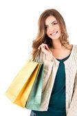美丽的女人举行购物袋 — 图库照片