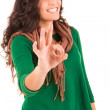 Casual woman with an ok sign - selective focus on hand — Stock Photo