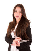 Young woman scheduling an appointment — Stock Photo