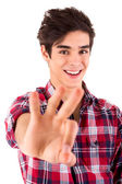 Young student expressing positivity - Ok sign — Stock Photo