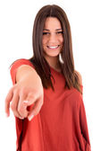 Beautiful woman pointing front — Stock Photo