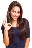 Mix race woman showing ok sign — Stock Photo