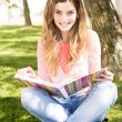 Young student studying at the school garden — Stock Photo #28165055