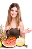 Woman with vegetables and fruits — Stock Photo