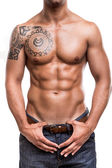 Close-up of the abdominal muscles — Stock Photo