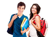 Young happy students — Stock Photo