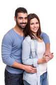 Couple posing over white background — Stock Photo