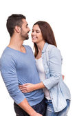 Couple posing over white background — Stock Photo