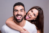 Portrait of a funny couple — Stock Photo