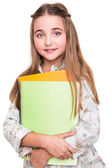 Little student holding notebook — Stock Photo