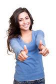 Женщина, разоблачающая большие пальцы — Стоковое фото