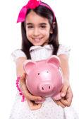 Dívka drží prasátko — Stock fotografie