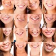 Collage of different smiles — ストック写真