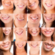 Collage of different smiles — Foto Stock