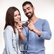 Couple taking retro camera photo — Stock Photo