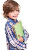Boy holding school books — Foto Stock