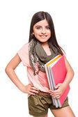 Girl holding sketchbooks — Foto Stock