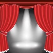 Theater stage with open red curtain and spotlight — Stock Vector