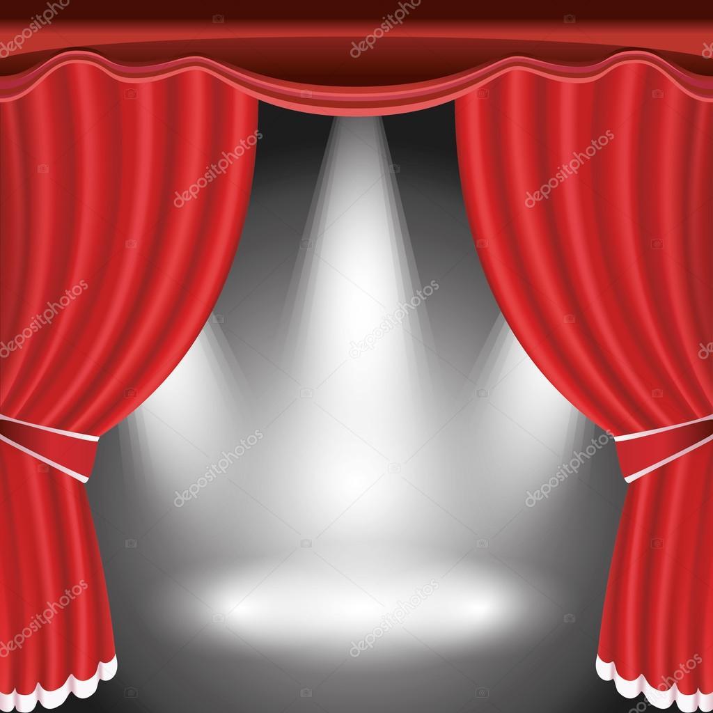 Palco de teatro com a cortina aberta vermelha e holofotes — Vetor de ...