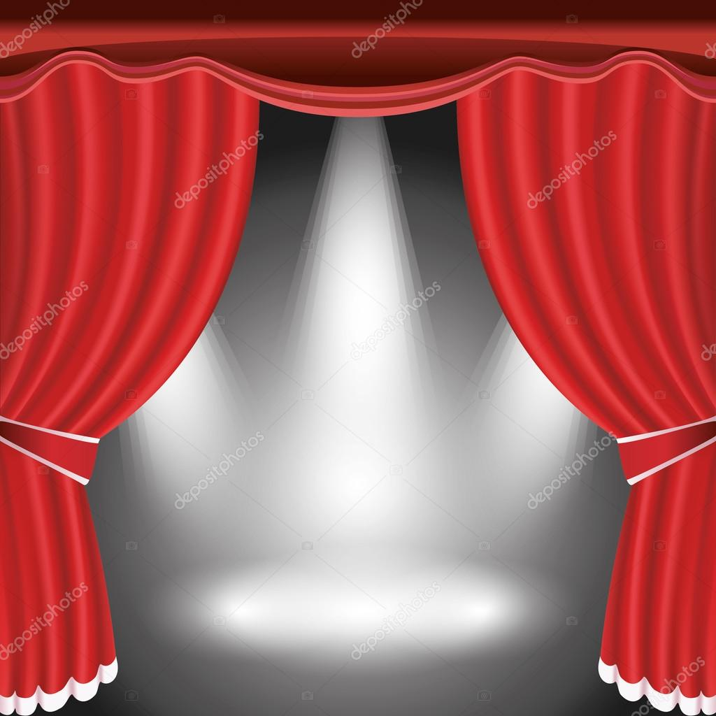 Theater podium met open rood gordijn en middelpunt van de ...