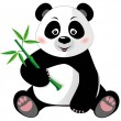 Stock Vector: Sitting cute pandwith bamboo isolated on white