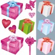 Stock Vector: Set of gift box and holiday decorations