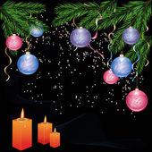 Nieuwjaar en cristmas achtergrond met decoraties — Stockvector