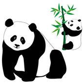 Sevimli panda ayıları bambu kümesi — Stok Vektör