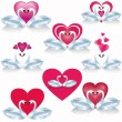 Set of white swans with hearts, vector — Stock Vector #18578865