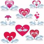 conjunto de cisnes blancos con corazones, vector — Vector de stock  #18578865
