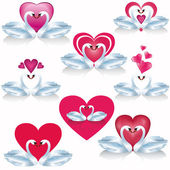 Set of white swans with hearts, vector — Stock Vector