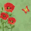 Floral vintage background with poppies and butterfly — Stock Vector