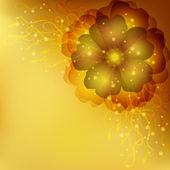 Invitación floral dorado o tarjeta de felicitación — Vector de stock