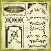 Set of decorative design elements, vintage — Stock Vector