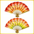 Stock Vector: Set of Japanese fans over white