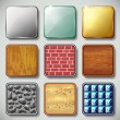Set of different textured apps icons vector - Stock Vector