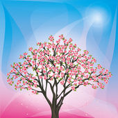 Spring background with sakura blossom - japanese cherry tree — Stock Vector